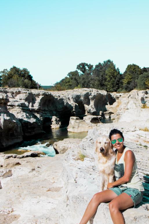Cascades du Sautadet avec son chien